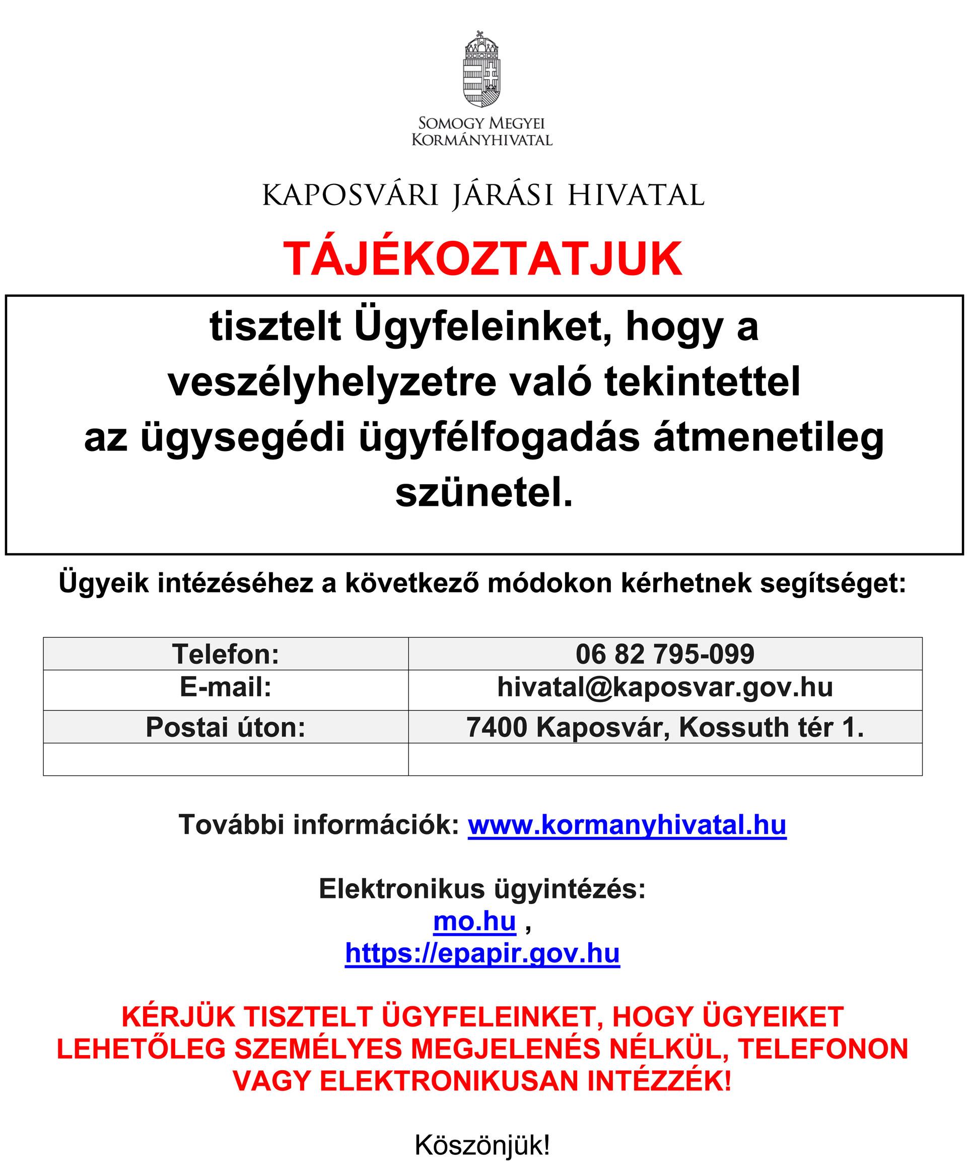 Tájékoztató-ügyfélfogadás