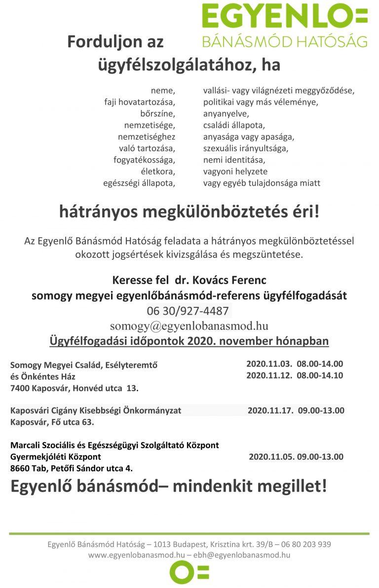 Egyenlő Bánásmód Hatóság ügyfélfogadás 2020 november